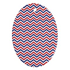 Navy Chevron Oval Ornament (two Sides) by jumpercat