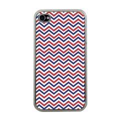 Navy Chevron Apple Iphone 4 Case (clear) by jumpercat