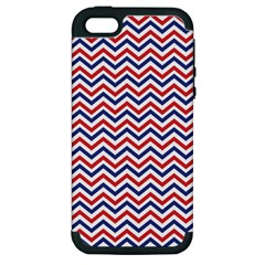 Navy Chevron Apple Iphone 5 Hardshell Case (pc+silicone) by jumpercat