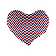 Navy Chevron Standard 16  Premium Flano Heart Shape Cushions by jumpercat