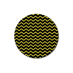 Yellow Chevron Magnet 3  (round) by jumpercat