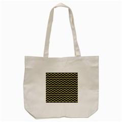 Yellow Chevron Tote Bag (cream) by jumpercat