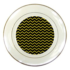 Yellow Chevron Porcelain Plates by jumpercat