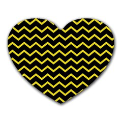 Yellow Chevron Heart Mousepads by jumpercat