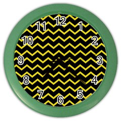 Yellow Chevron Color Wall Clocks by jumpercat