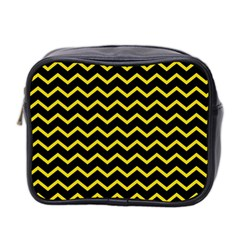 Yellow Chevron Mini Toiletries Bag 2 Side by jumpercat