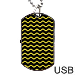 Yellow Chevron Dog Tag Usb Flash (one Side) by jumpercat