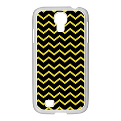 Yellow Chevron Samsung Galaxy S4 I9500/ I9505 Case (white) by jumpercat