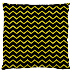Yellow Chevron Standard Flano Cushion Case (one Side) by jumpercat