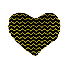 Yellow Chevron Standard 16  Premium Flano Heart Shape Cushions by jumpercat