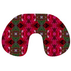 Christmas Colors Wrapping Paper Design Travel Neck Pillows by Fractalsandkaleidoscopes