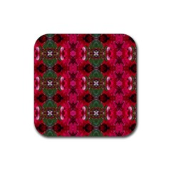 Christmas Colors Wrapping Paper Design Rubber Square Coaster (4 Pack)  by Fractalsandkaleidoscopes