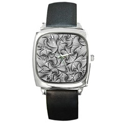 Fractal Sketch Light Square Metal Watch by jumpercat