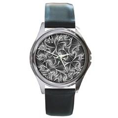 Fractal Sketch Dark Round Metal Watch by jumpercat