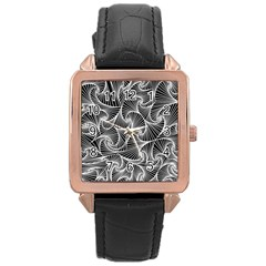 Fractal Sketch Dark Rose Gold Leather Watch  by jumpercat