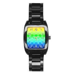 Art Deco Rain Bow Stainless Steel Barrel Watch by 8fugoso
