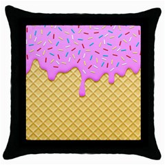 Strawberry Ice Cream Throw Pillow Case (black) by jumpercat