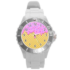 Strawberry Ice Cream Round Plastic Sport Watch (l) by jumpercat