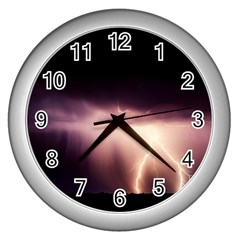 Storm Weather Lightning Bolt Wall Clocks (silver)