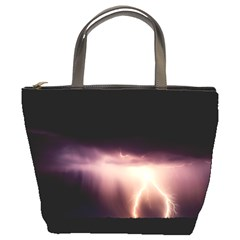 Storm Weather Lightning Bolt Bucket Bags by BangZart