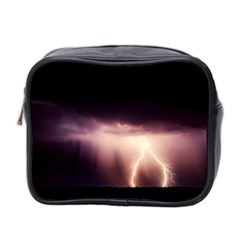 Storm Weather Lightning Bolt Mini Toiletries Bag 2 Side