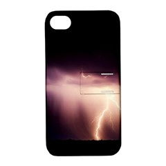 Storm Weather Lightning Bolt Apple Iphone 4/4s Hardshell Case With Stand
