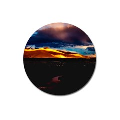 India Sunset Sky Clouds Mountains Magnet 3  (round)