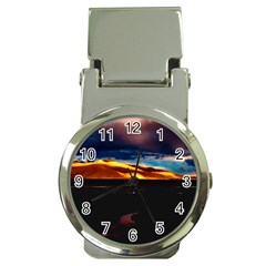 India Sunset Sky Clouds Mountains Money Clip Watches