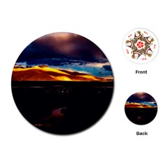 India Sunset Sky Clouds Mountains Playing Cards (round)  by BangZart