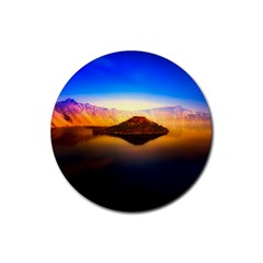 Crater Lake Oregon Mountains Rubber Coaster (round)