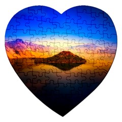 Crater Lake Oregon Mountains Jigsaw Puzzle (heart) by BangZart