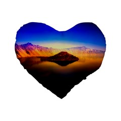 Crater Lake Oregon Mountains Standard 16  Premium Flano Heart Shape Cushions by BangZart