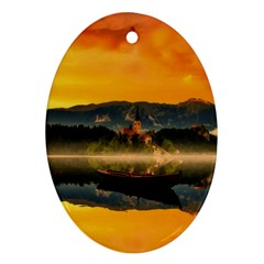 Bled Slovenia Sunrise Fog Mist Ornament (oval) by BangZart