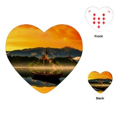 Bled Slovenia Sunrise Fog Mist Playing Cards (heart)