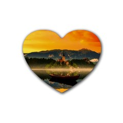 Bled Slovenia Sunrise Fog Mist Heart Coaster (4 Pack)  by BangZart