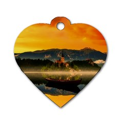 Bled Slovenia Sunrise Fog Mist Dog Tag Heart (one Side) by BangZart