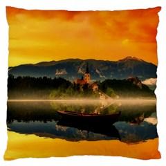 Bled Slovenia Sunrise Fog Mist Large Cushion Case (one Side)