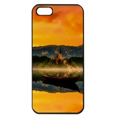 Bled Slovenia Sunrise Fog Mist Apple Iphone 5 Seamless Case (black)