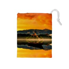 Bled Slovenia Sunrise Fog Mist Drawstring Pouches (medium)  by BangZart