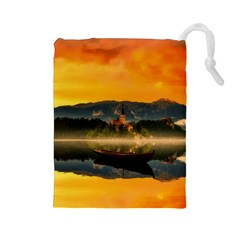Bled Slovenia Sunrise Fog Mist Drawstring Pouches (large)  by BangZart