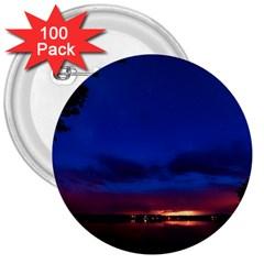 Canada Lake Night Evening Stars 3  Buttons (100 Pack)