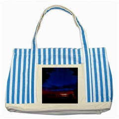 Canada Lake Night Evening Stars Striped Blue Tote Bag by BangZart