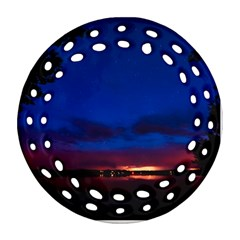 Canada Lake Night Evening Stars Round Filigree Ornament (two Sides) by BangZart