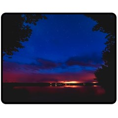 Canada Lake Night Evening Stars Double Sided Fleece Blanket (medium)  by BangZart