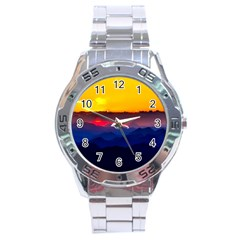 Austria Landscape Sky Clouds Stainless Steel Analogue Watch