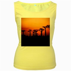 Baobabs Trees Silhouette Landscape Women s Yellow Tank Top