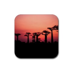 Baobabs Trees Silhouette Landscape Rubber Coaster (square)