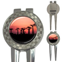 Baobabs Trees Silhouette Landscape 3 In 1 Golf Divots
