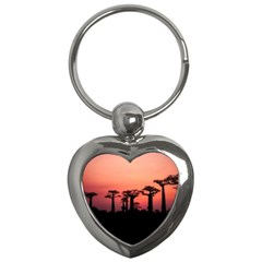 Baobabs Trees Silhouette Landscape Key Chains (heart)