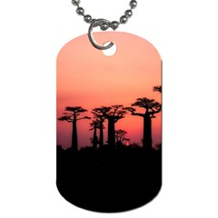 Baobabs Trees Silhouette Landscape Dog Tag (two Sides)